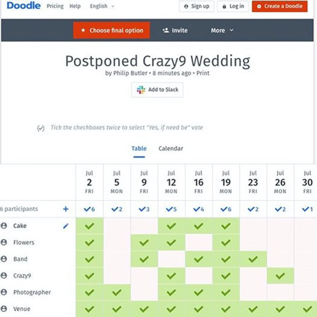 Doodle.com find a date that's best for all suppliers