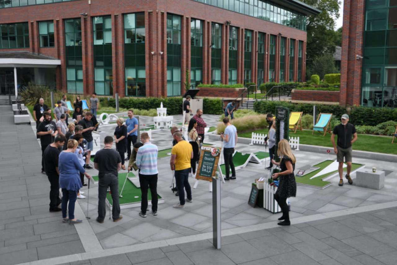 Corporate Party Ideas - mobile crazy golf Towers Business Park Manchester