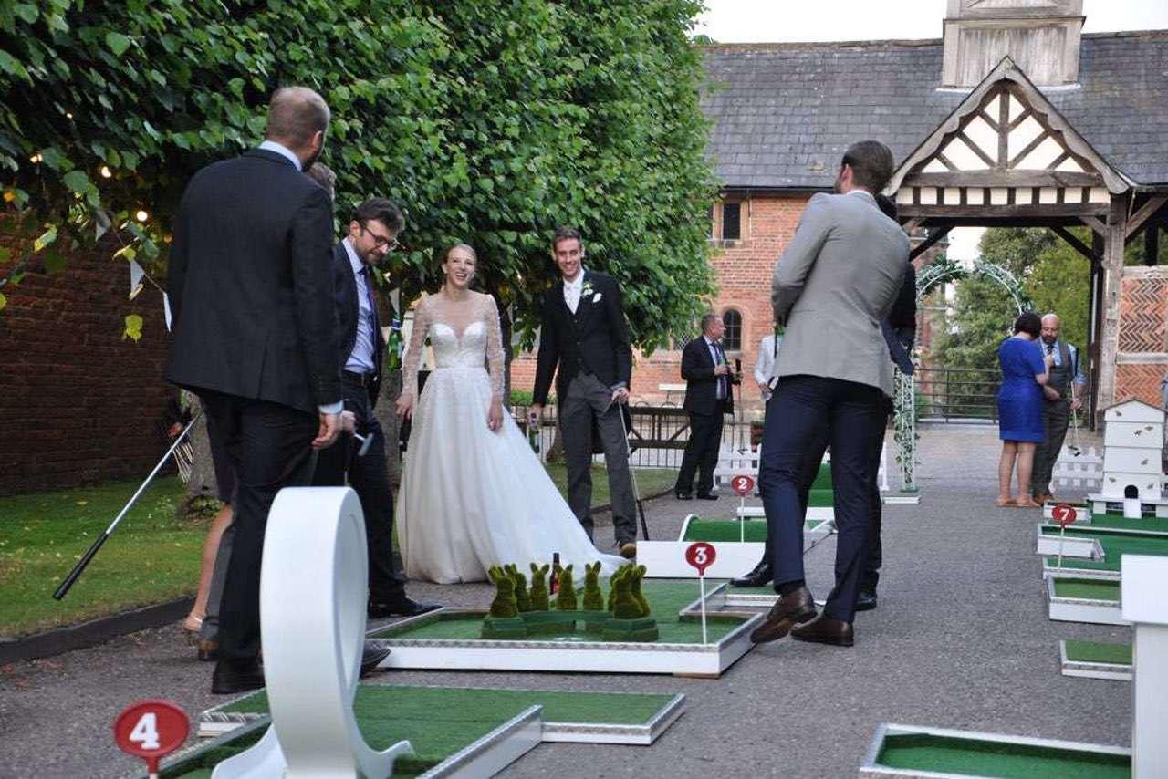 arley hall wedding reception entertainment portable mini golf