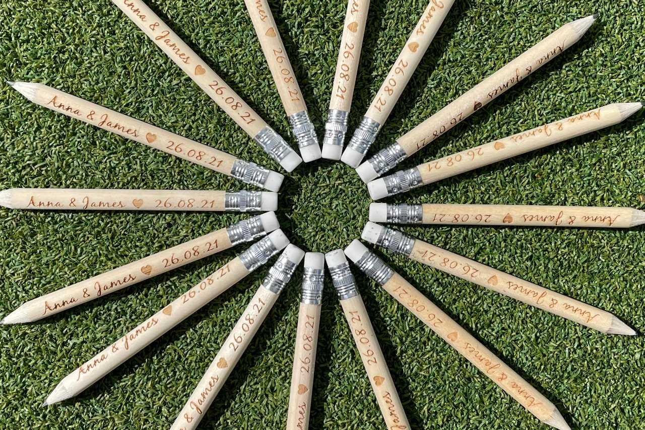 crazy golf laser engraved pencils