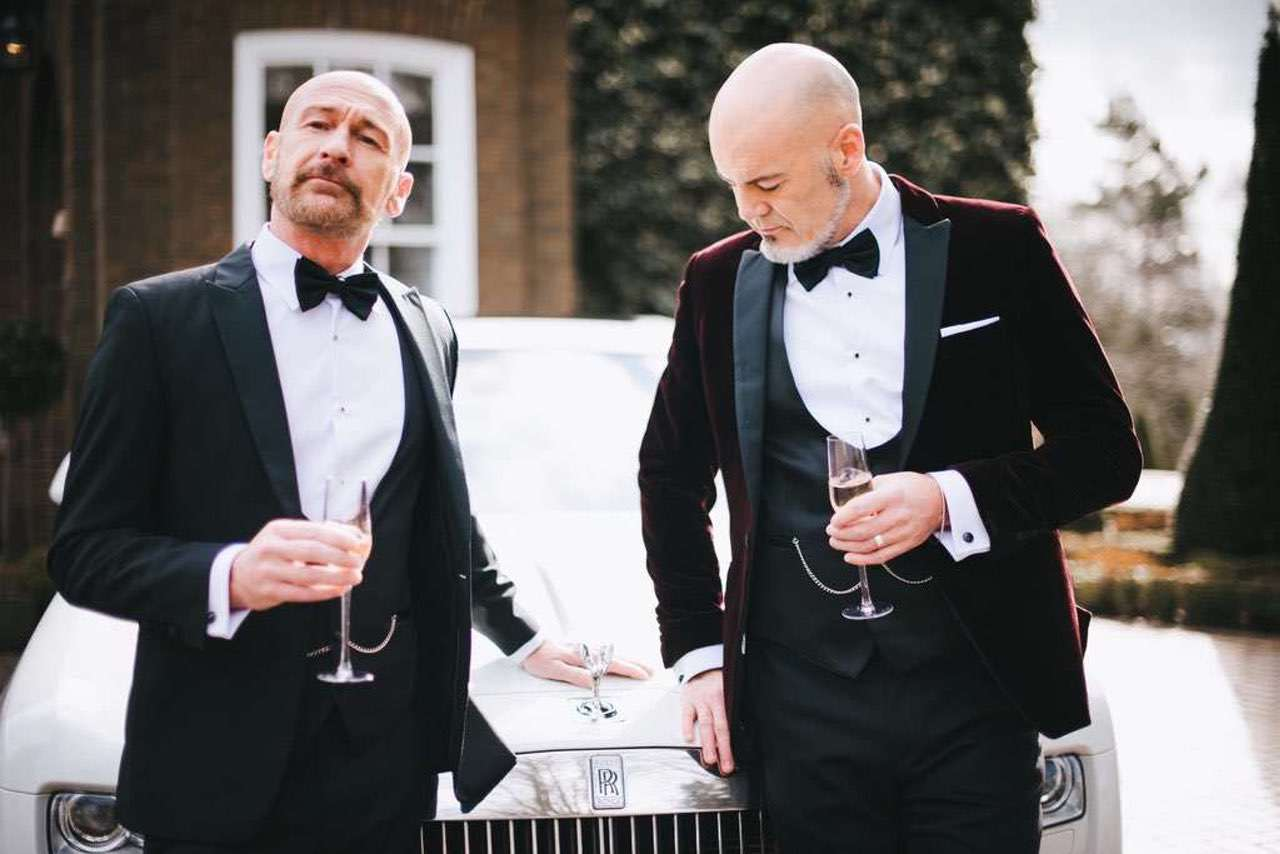same-sex wedding ideas - dinner suit hire whitfield ward rolls-royce red carpet cars