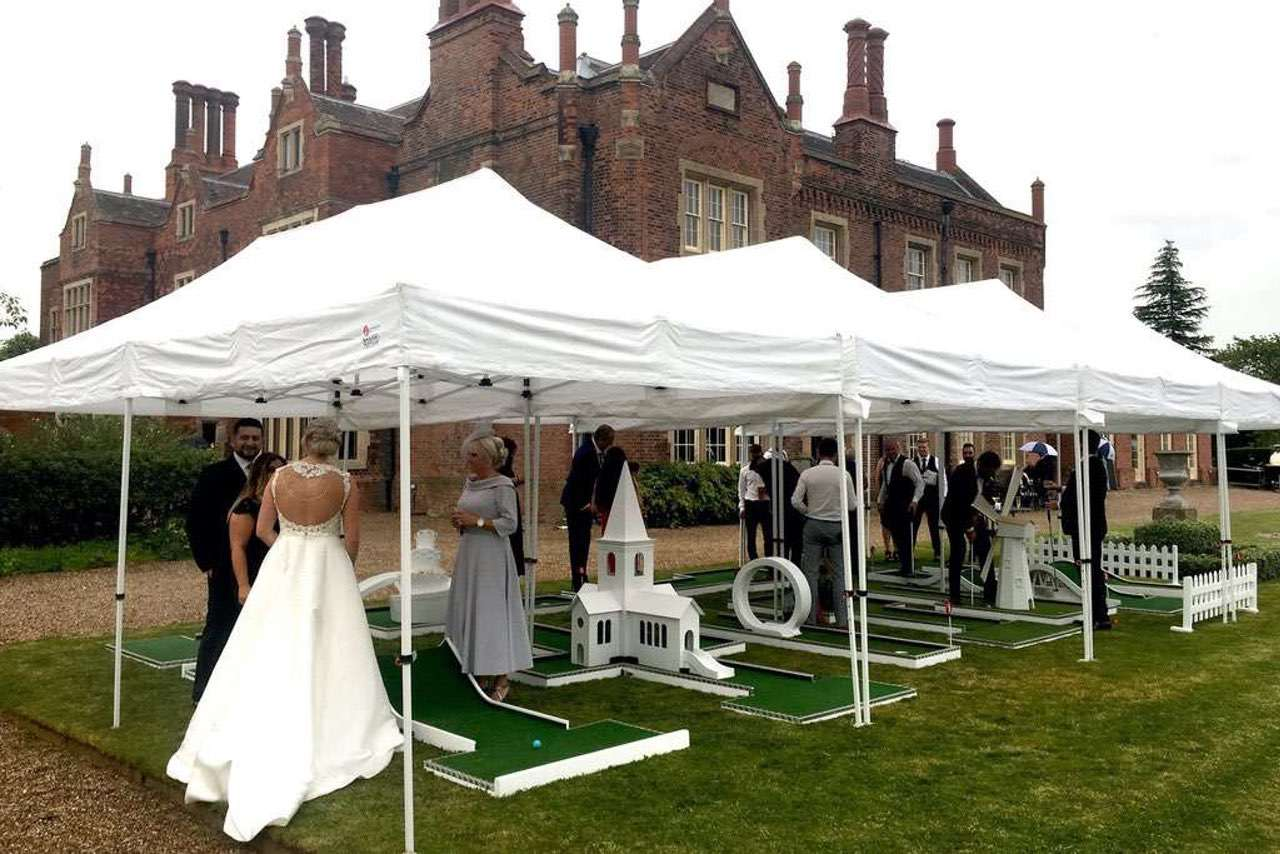 Hodsock Priory mobile crazy golf wedding entertainment