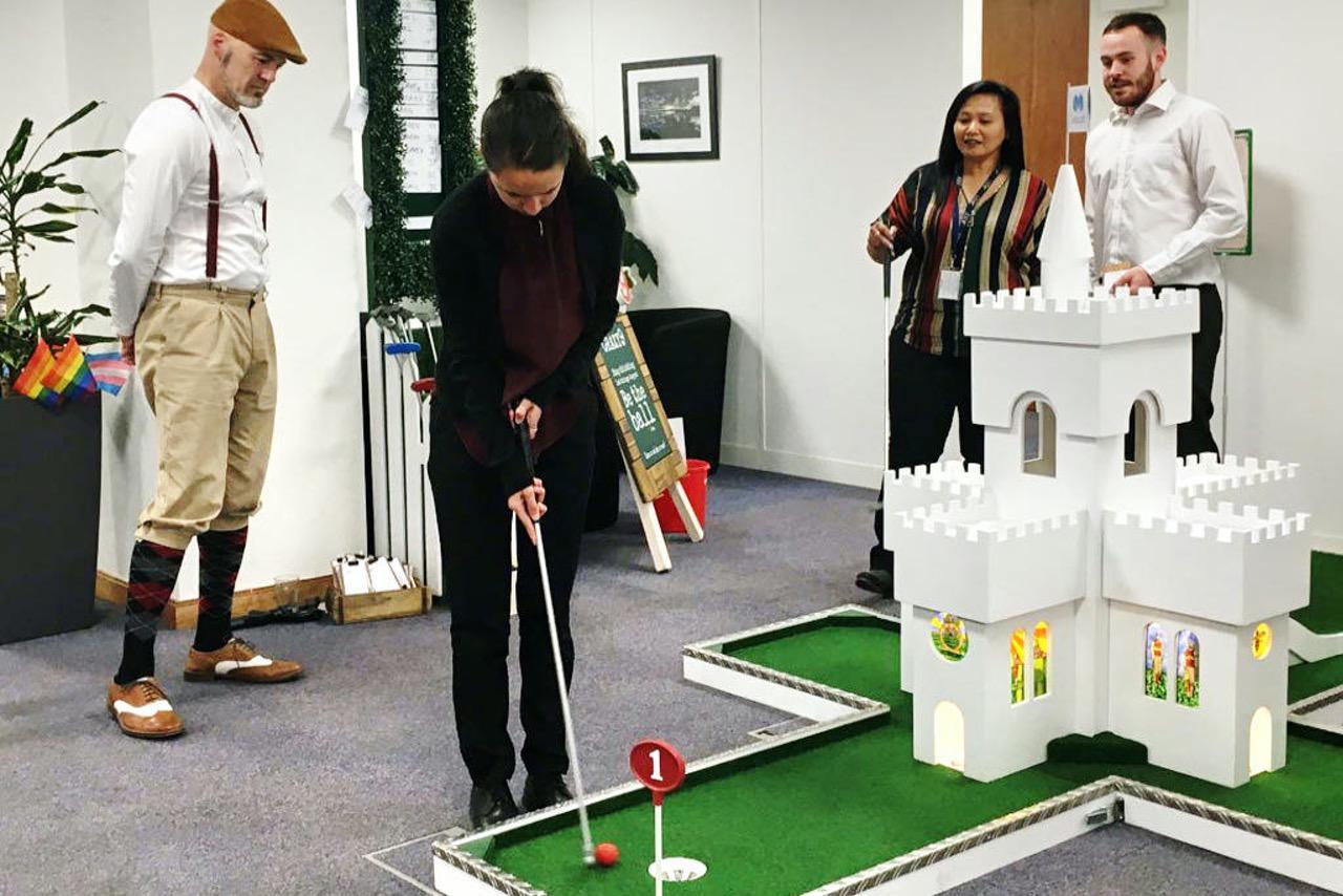 mobile crazy golf corporate entertainment childline ball mercer