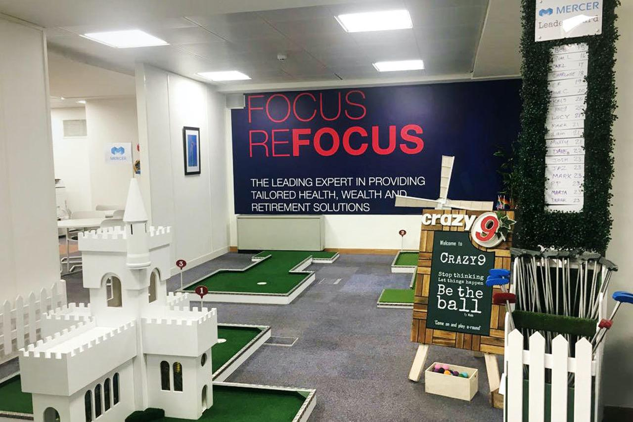 Crazy9 Fundraising Money for Charity mobile crazy golf childline ball mercer