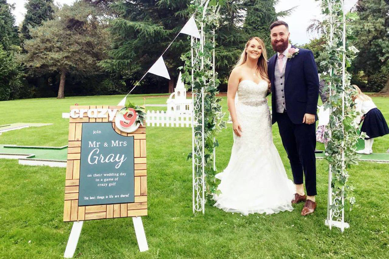 wedding crazy golf bespoke welcome board