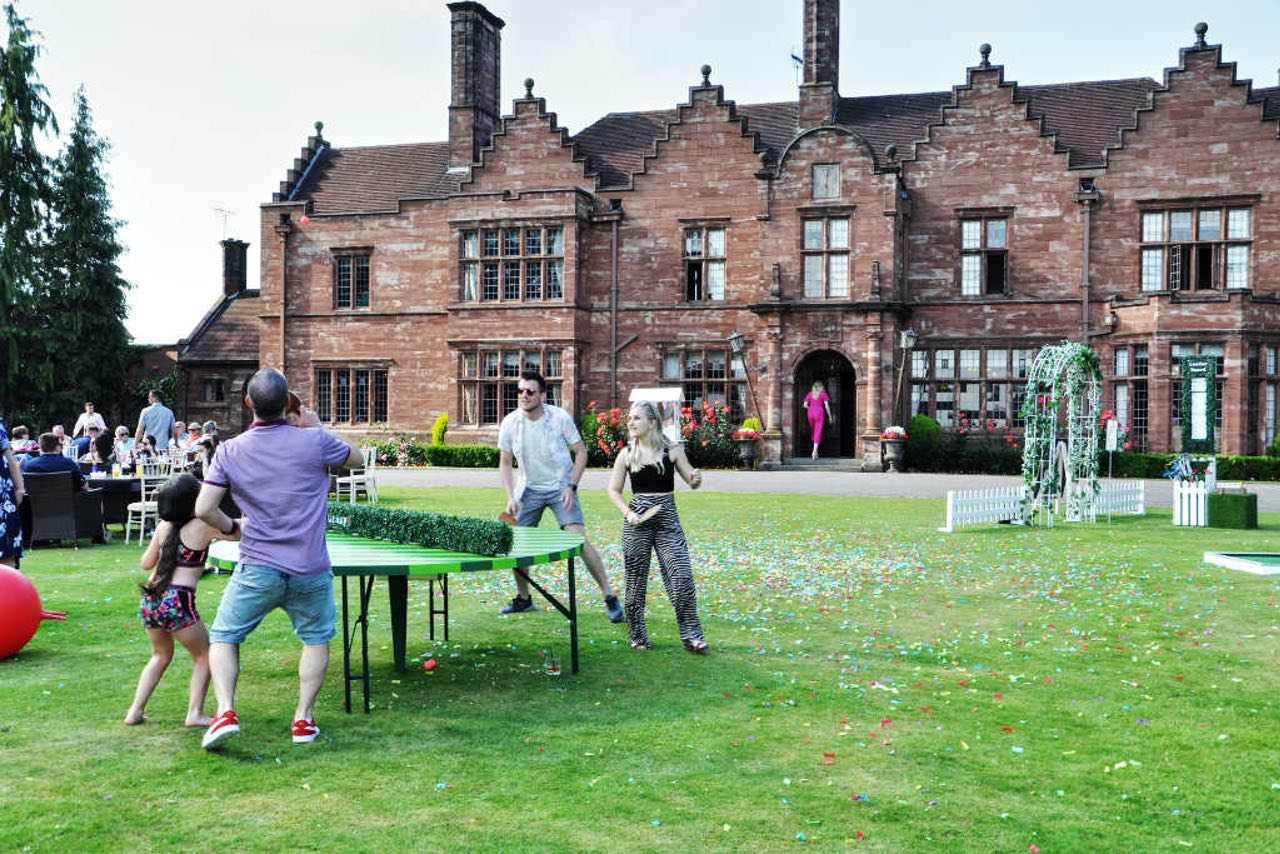 Wrenbury Hall Cheshire Wedding Venue garden entertainment